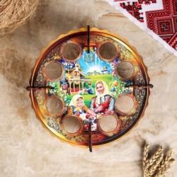 Пасхальная подставка на 8 яиц 'Домашний обед', 19,5×19,5 см