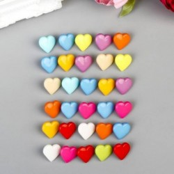 Пуговицы пластик для творчества на ножке 'Цветные сердечки' набор 30 шт 1,7х1,7 см
