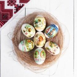 Пасхальная термоусадочная плёнка 'Ретро-открытки-1' на 7 яиц