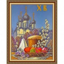 «Светлица» рисунок на ткани для вышивания бисером К-203 «Пасхальная» 24x30 см
