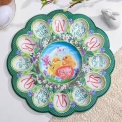 Пасхальная подставка на 12 яиц и кулич «Светлой Пасхи. Цыплята»