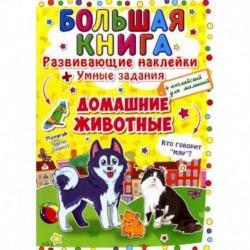 Большая книга. Развивающие наклейки. Умные задания. Домашние животные. + английский для малышей.