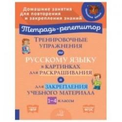 Тренировочные упражнения по русскому языку в картинках для раскраш. и закрепл. материала. 1-4 классы