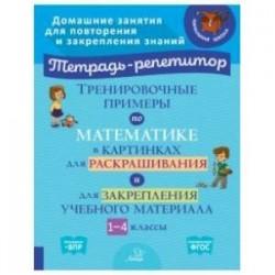 Тренировочные примеры по математике в картинках для раскрашивания и закрепления материала. 1-4 класс