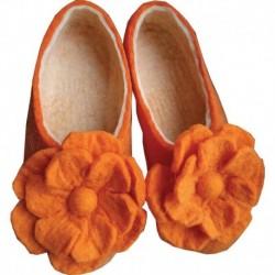 Тапочки войлочные оранжевые с цветком. Размер 39