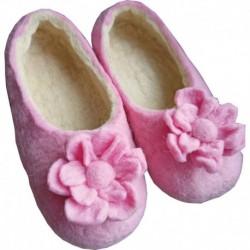 Тапочки войлочные розовые с цветком. Размер 36