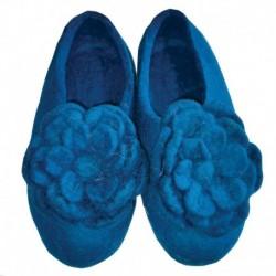 Тапочки войлочные синие с цветком. Размер 40