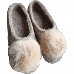 Тапочки серые с помпоном из меха кролика. Размер 38