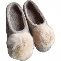 Тапочки серые с помпоном из меха кролика. Размер 40