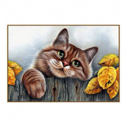 Алмазная мозаика «Рыжий кот», 31 цвет, 28 см x 19 см