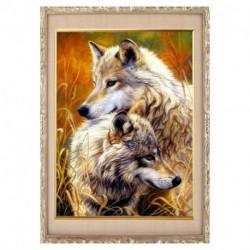 Алмазная мозаика «Волчья пара» 30 x 40, 40 цветов