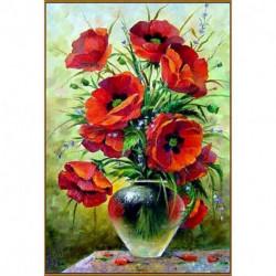 Алмазная мозаика «Маковый букет», 29 смx19 см, 31 цвет