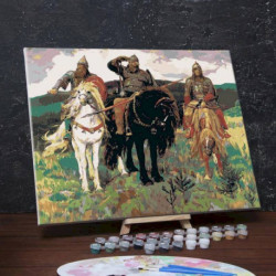 Картина по номерам на холсте с подрамником «Богатыри», Виктор Васнецов, 40x50 см