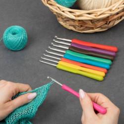 Набор крючков для вязания, d 2-6 мм, 14 см, 9 шт, цвет МИКС