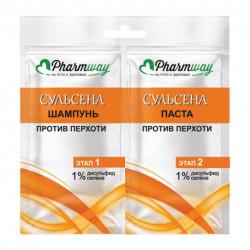 Pharmway Сульсена Шампунь против перхоти 1%, 10мл.+ Паста против перхоти 1%, 10мл., саше