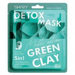 Shary  Очищающая тканевая маска-эмульсия для лица 5 в 1 'Зеленая глина'  25 г