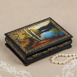 Шкатулка «Берег озера», 10x14 см, лаковая миниатюра
