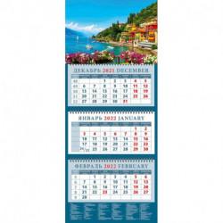 Календарь квартальный на 2022 год 'Очаровательный вид с берега озера Комо в Италии'
