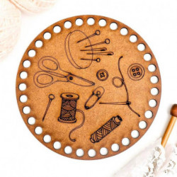 Заготовка для вязания 'Круг. Катушки и игольница', 15 см