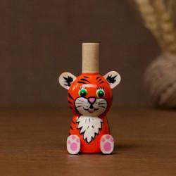 Свистулька 'Тигренок рыжий', ручная роспись