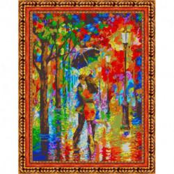 «Светлица» набор для вышивания бисером №403П «Влюбленные под дождем» бисер Чехия, 38x30 см