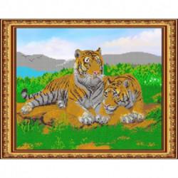 «Светлица» набор для вышивания бисером №425 «Тигры» бисер Чехия, 38x30 см
