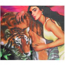 Алмазная вышивка с частичным заполнением «Девушка с тигром» 50x60 см