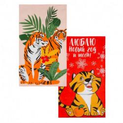 Набор кухонных полотенец Доляна Tigers 35x60 см-2шт., 100% хлопок, 160 г/м2