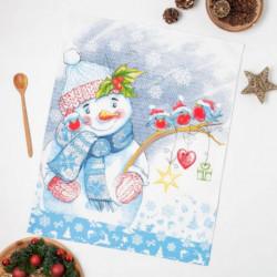 Полотенце вафельное Снеговик 1, 47x60 см, хлопок 100%, 185г/м2