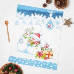 Полотенце вафельное Снеговик 3, 47х60 см, хлопок 100%, 185г/м2