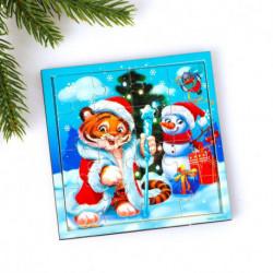 Пазл «Тигрёнок и снеговик»