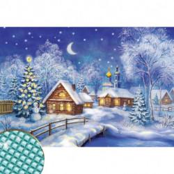 Алмазная вышивка с полным заполнением «Рождественская ночь», 22x32 см