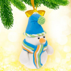 Новогодняя игрушка, набор для создания из массы для лепки «Снеговик»