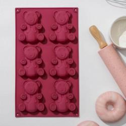Форма для выпечки Доляна «Мишка», 28,5x17 см, 6 ячеек (8,5x6 см), цвет МИКС