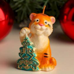 Свеча декоративная 'Тигр с елкой', 4x5,1x7 см, микс